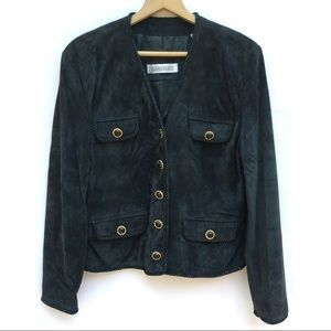 Vintage Suede Leather Rope Trim Blazer Jacket